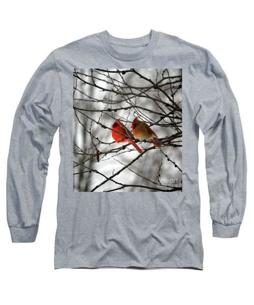 Long Sleeve T-Shirt featuring the photograph True Love Cardinal by Peggy Franz