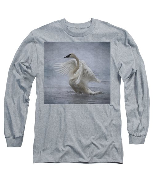 Trumpeter Swan - Misty Display Long Sleeve T-Shirt by Patti Deters