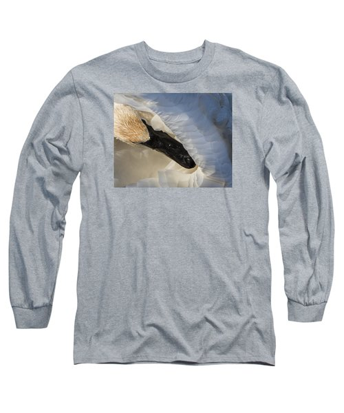 Trumpeter Swan - Safe Place Long Sleeve T-Shirt by Patti Deters