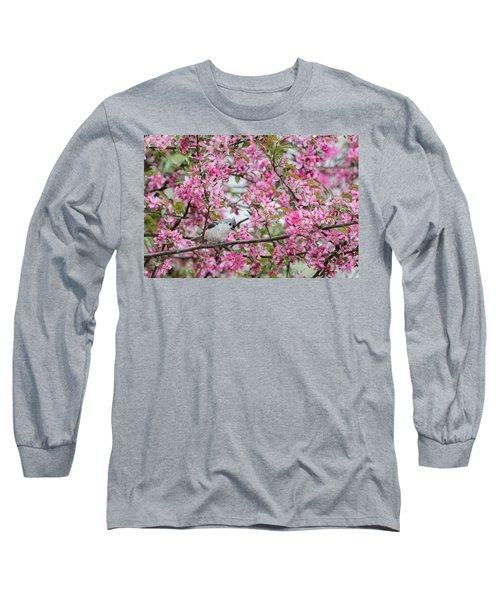 Tufted Titmouse In A Pear Tree Long Sleeve T-Shirt by Bill Wakeley