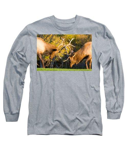 Two Elk Bulls Sparring Long Sleeve T-Shirt