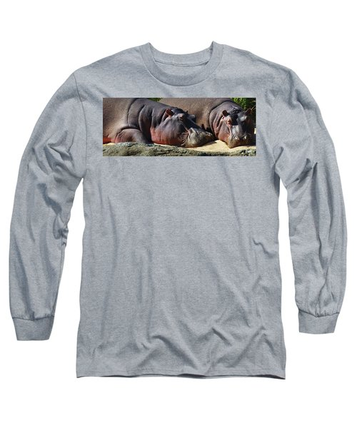 Two Hippos Sleeping On Riverbank Long Sleeve T-Shirt by Johan Swanepoel