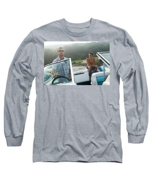 Two Men Pilot A Boat On A Lake Long Sleeve T-Shirt