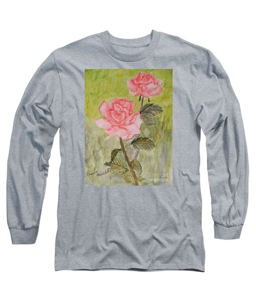 Two Pink Roses Long Sleeve T-Shirt by Pamela  Meredith