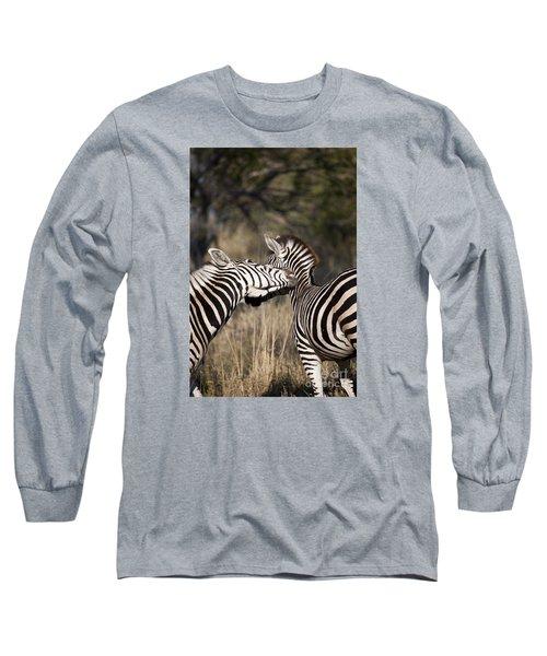 Long Sleeve T-Shirt featuring the photograph Two Plains Zebra Botswana by Liz Leyden