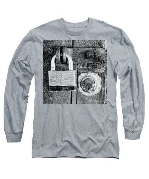 Two Rusty Old Locks - Bw Long Sleeve T-Shirt by David Perry Lawrence