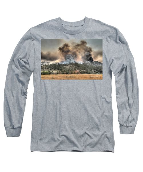 Long Sleeve T-Shirt featuring the photograph Two Smoke Columns White Draw Fire by Bill Gabbert