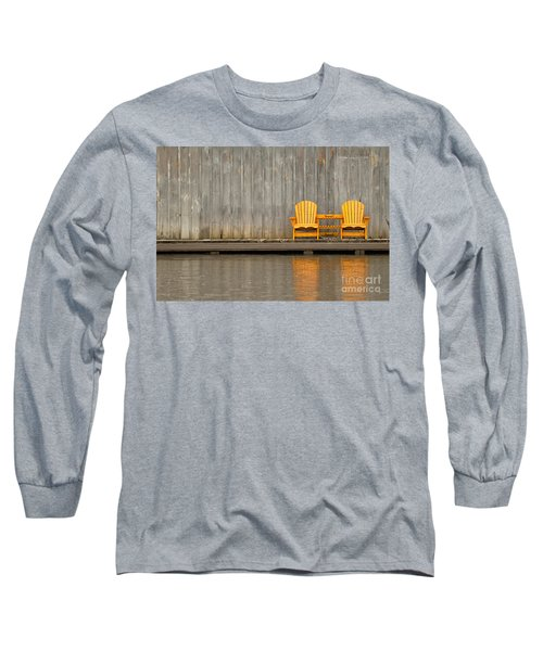 Two Wooden Chairs On An Old Dock Long Sleeve T-Shirt