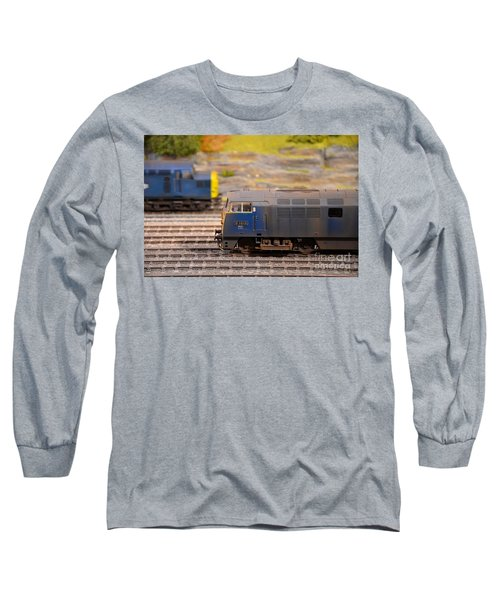Long Sleeve T-Shirt featuring the photograph Two Yellow Blue British Rail Model Railway Train Engines by Imran Ahmed