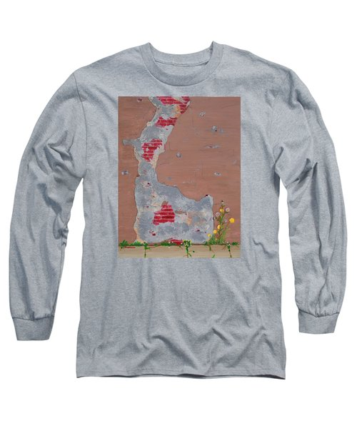 Unmasking The Red Brick Wall Long Sleeve T-Shirt by Donna  Manaraze