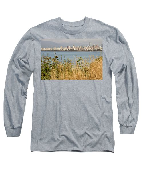 Long Sleeve T-Shirt featuring the photograph Vancouver Bc Downtown From Hasting Mills Park by JPLDesigns