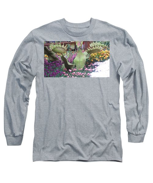 Long Sleeve T-Shirt featuring the photograph Vegas Butterfly Garden Flowers Cactus Romanti Interior Decorations by Navin Joshi