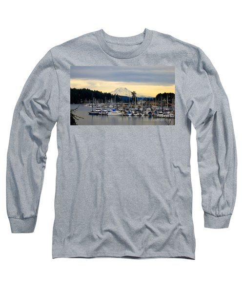 View Of Mt. Rainier From Gig Harbor Wa Long Sleeve T-Shirt