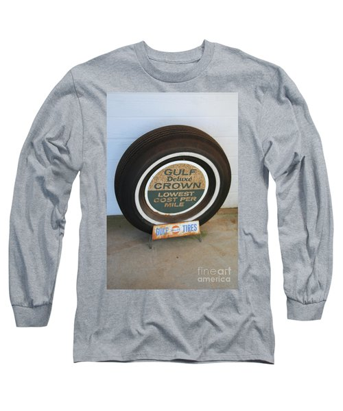 Long Sleeve T-Shirt featuring the photograph Vintage Gulf Tire With Ad Plate by Lesa Fine