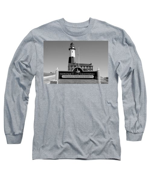 Vintage Looking Montauk Lighthouse Long Sleeve T-Shirt by John Telfer