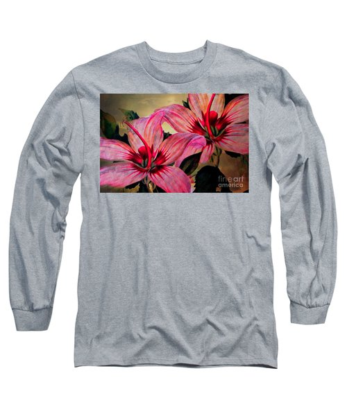Vintage Painted Pink Lily Long Sleeve T-Shirt by Judy Palkimas