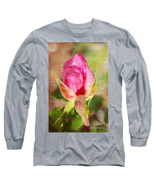 Long Sleeve T-Shirt featuring the photograph Vintage Pink Rose Bud by Judy Palkimas