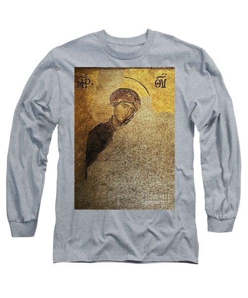 Virgin Mary-detail Of Deesis Mosaic  Hagia Sophia-day Of Judgement Long Sleeve T-Shirt