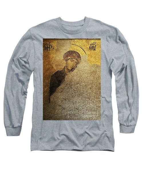 Virgin Mary-detail Of Deesis Mosaic  Hagia Sophia-day Of Judgement Long Sleeve T-Shirt