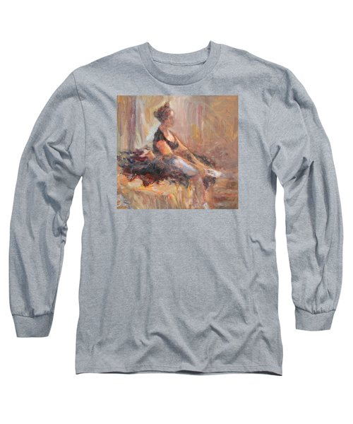 Waiting For Her Moment - Impressionist Oil Painting Long Sleeve T-Shirt by Quin Sweetman