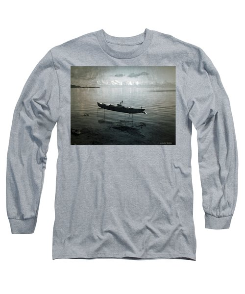 Long Sleeve T-Shirt featuring the photograph Waiting In Blue by Lucinda Walter