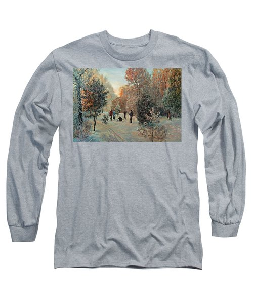 Walk To Skiing In The Winter Park Long Sleeve T-Shirt