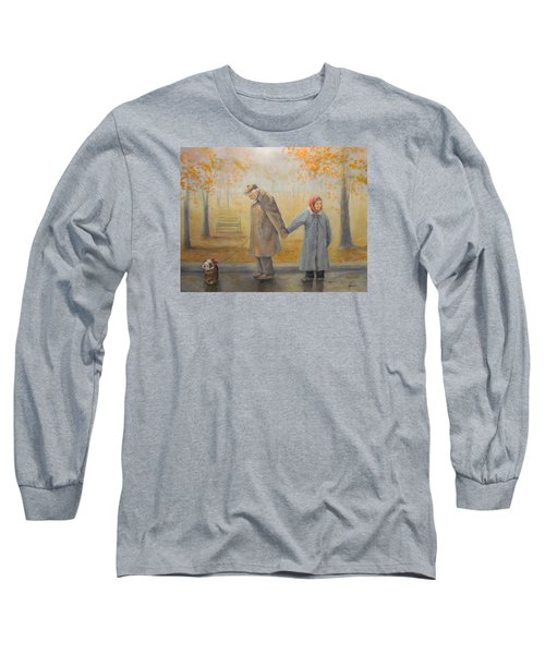 Long Sleeve T-Shirt featuring the painting Walking Miss Daisy by Donna Tucker