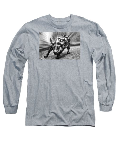 Wall Street Bull Black And White Long Sleeve T-Shirt