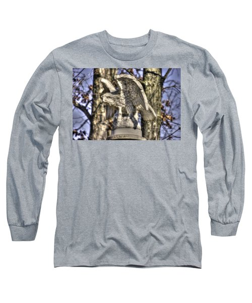 Long Sleeve T-Shirt featuring the photograph War Eagles - Vermont Company F 1st U. S. Sharpshooters-a1 Pitzer Woods Gettysburg by Michael Mazaika