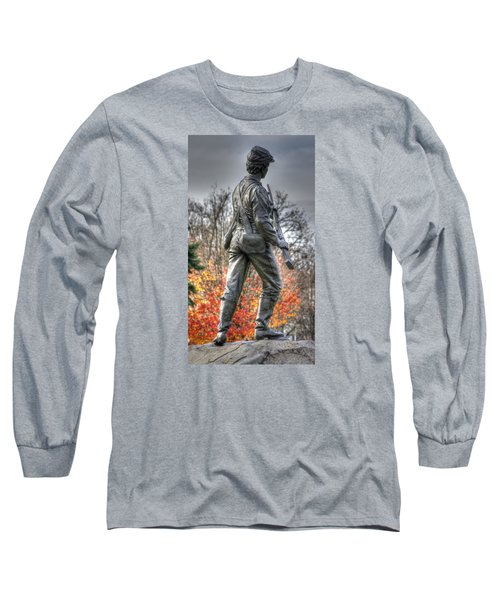 Long Sleeve T-Shirt featuring the photograph War Fighters - 26th Pennsylvania Emergency Militia Infantry-b1 Defending The Town Of Gettysburg by Michael Mazaika