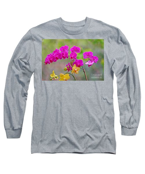 Warbler Posing In Orchids Long Sleeve T-Shirt