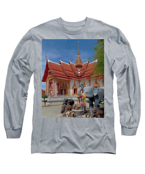 Wat Chalong Wiharn And Elephant Tribute Dthp045 Long Sleeve T-Shirt
