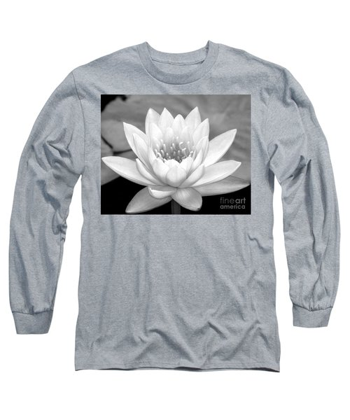 Water Lily In Black And White Long Sleeve T-Shirt