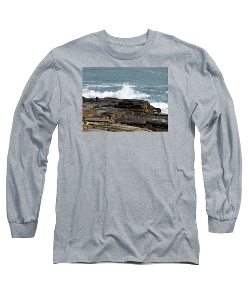 Wave Hitting Rock Long Sleeve T-Shirt by Catherine Gagne