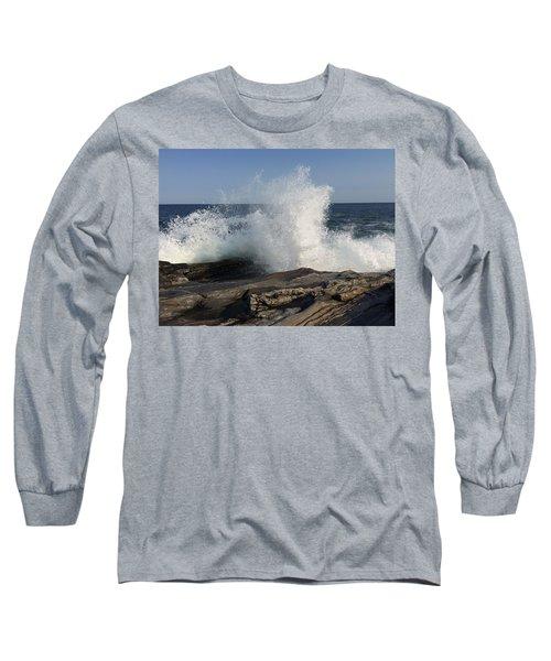 Waves Crashing On Rocky Maine Coast Long Sleeve T-Shirt