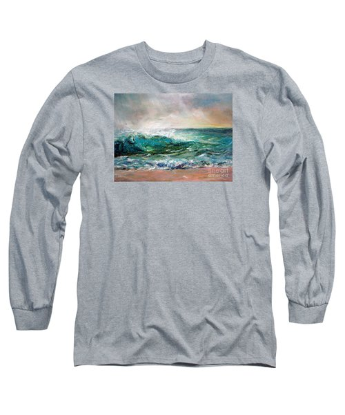 Long Sleeve T-Shirt featuring the painting Waves by Jieming Wang