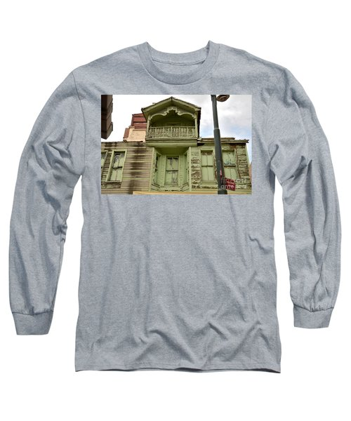 Long Sleeve T-Shirt featuring the photograph Weathered Old Green Wooden House by Imran Ahmed