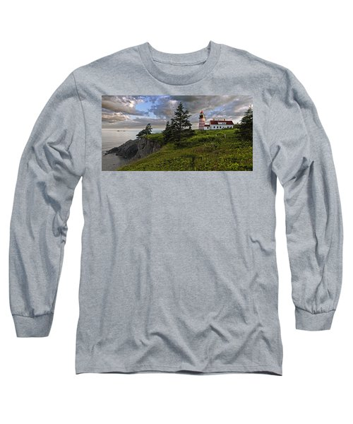 West Quoddy Head Lighthouse Panorama Long Sleeve T-Shirt by Marty Saccone