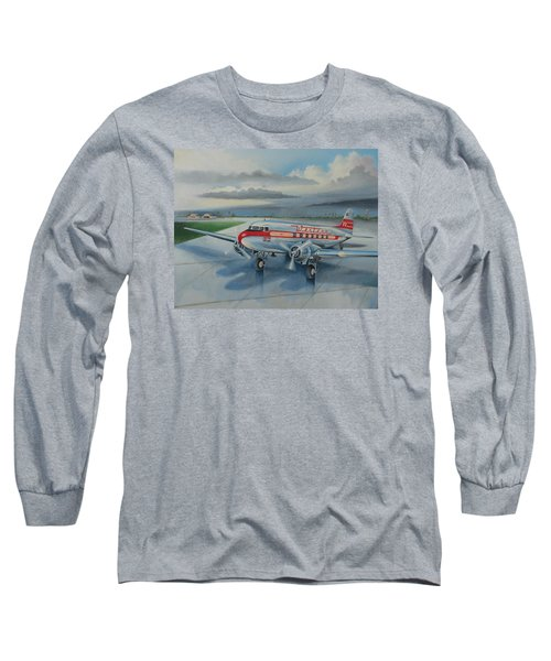 Western Airlines Dc-3 Long Sleeve T-Shirt by Stuart Swartz