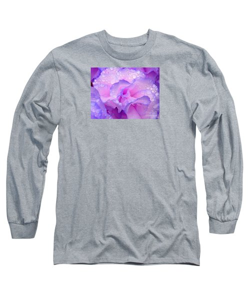 Wet Rose In Pink And Violet Long Sleeve T-Shirt by Nareeta Martin