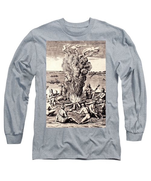 When They Returned From The War They Make Merry About The Fire Long Sleeve T-Shirt by Peter Gumaer Ogden