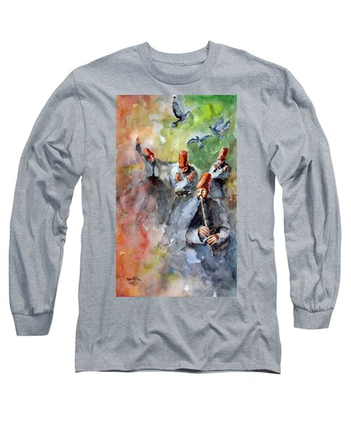 Whirling Dervishes And Pigeons         Long Sleeve T-Shirt by Faruk Koksal