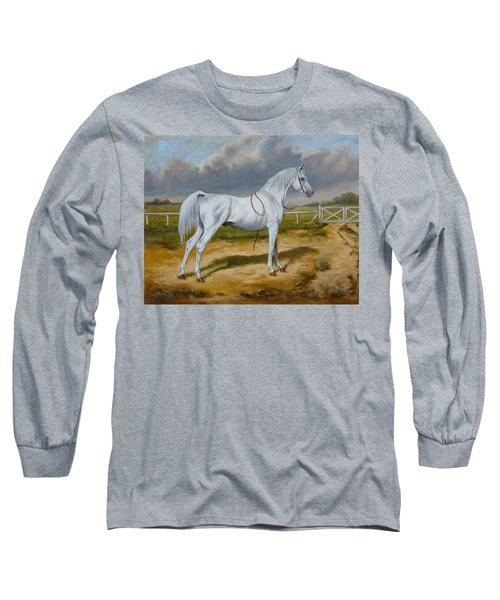 White Arabian Stallion Long Sleeve T-Shirt