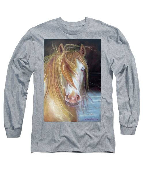 White Chocolate Stallion Long Sleeve T-Shirt by Karen Kennedy Chatham