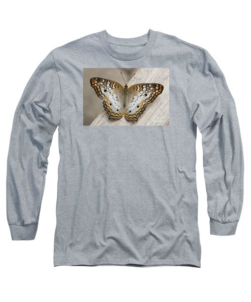 White Peacock Butterfly Long Sleeve T-Shirt by Judy Whitton