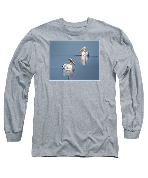 White Pelicans Long Sleeve T-Shirt by Patti Deters