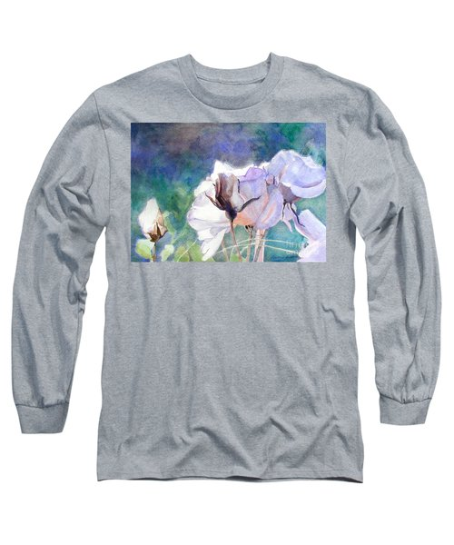 Long Sleeve T-Shirt featuring the painting White Roses In The Shade by Greta Corens