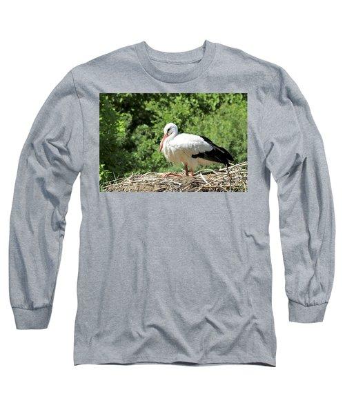 White Stork  Long Sleeve T-Shirt by Teresa Zieba