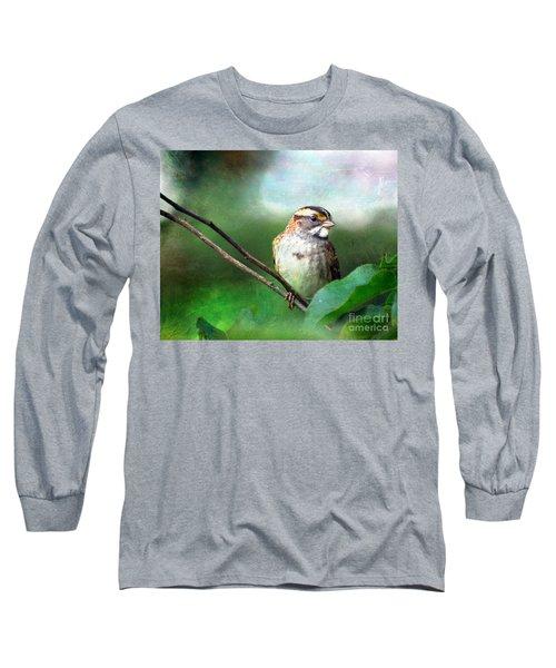 White-throated Sparrow Long Sleeve T-Shirt by Kerri Farley