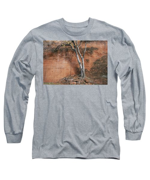 White Tree And Red Rock Face Long Sleeve T-Shirt
